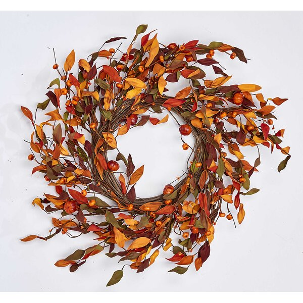 Pumpkin On Natural Twig Base 22 Wreath by August Grove