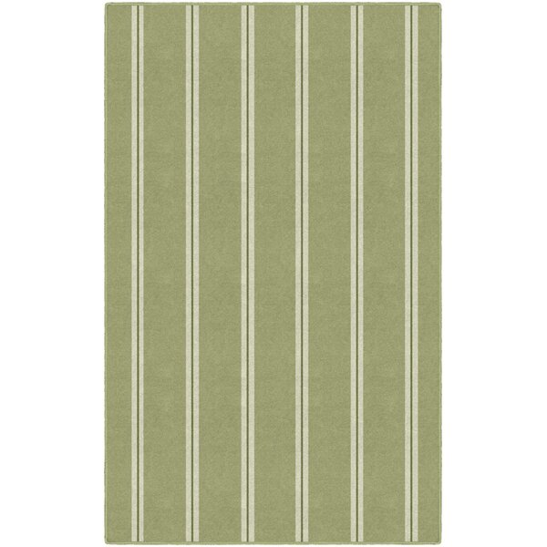 Roxana Traditional Vertical Striped Green Area Rug by Highland Dunes