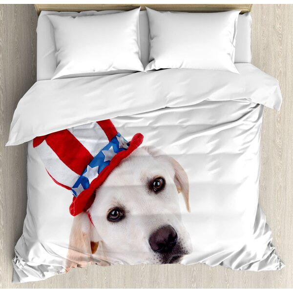 4th of July Ornate Independence Day Celebration with Fireworks Balls Vibrant Image Duvet Set by East Urban Home