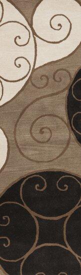 Diana Abstract Handmade Tufted Wool Brown Area Rug