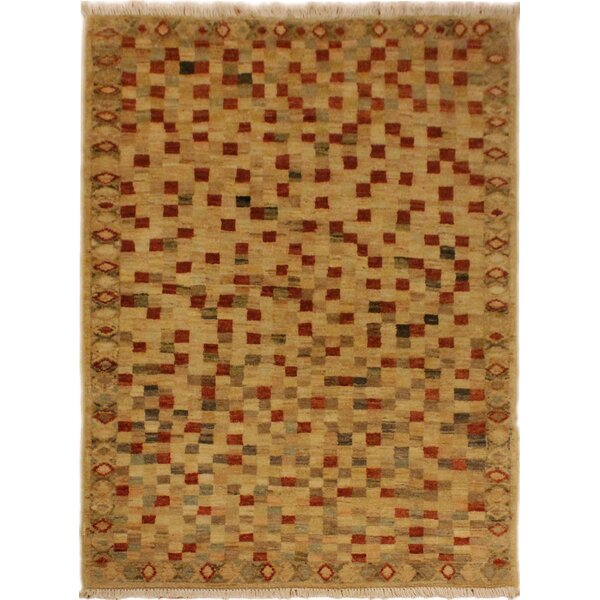 One-of-a-Kind Roeder Hand-Knotted Wool Tan/Rust Area Rug by Bloomsbury Market