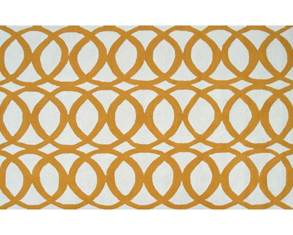 Alexandra Hand-Hooked Yellow/White Indoor/Outdoor Area Rug by Threadbind