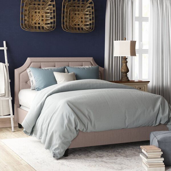 Lamar Nailhead Trim Upholstered Platform Bed by Willa Arlo Interiors