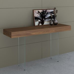 Board Console Table with Tempered Glas..