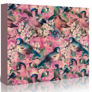 'Vintage Bird Flower Pink' Graphic Art Print on Canvas by East Urban Home