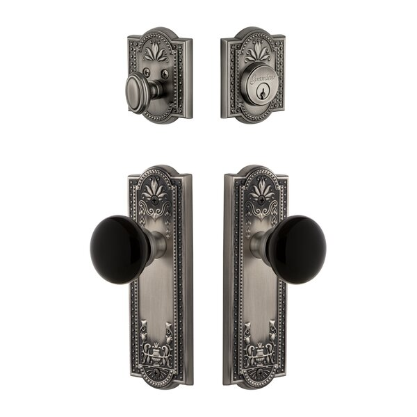 Parthenon Plate Single Cylinder Knob Combo Pack with Coventry Knob and matching Deadbolt by Grandeur