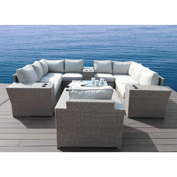 Normandy 13 Piece Rattan Sectional Seating Group with Cushions by Rosecliff Heights