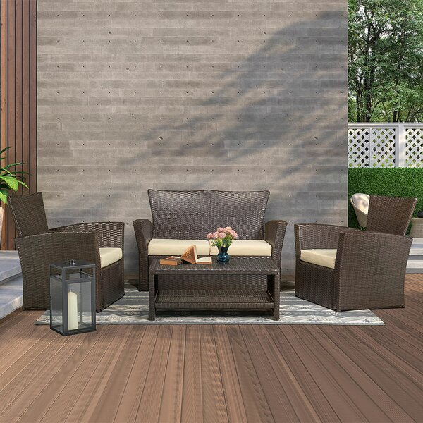 Areyana 4 Piece Rattan Sectional Seating Group With Cushions By Latitude Run