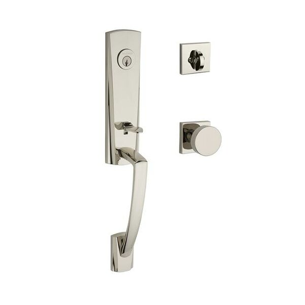 Miami Single Cylinder Handleset with Contemporary Door Knob and Contemporary Square Rose by Baldwin