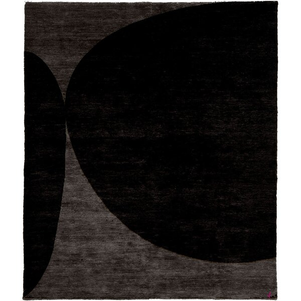 One-of-a-Kind Adelene Hand-Knotted Traditional Style Black 9' x 12' Wool Area Rug