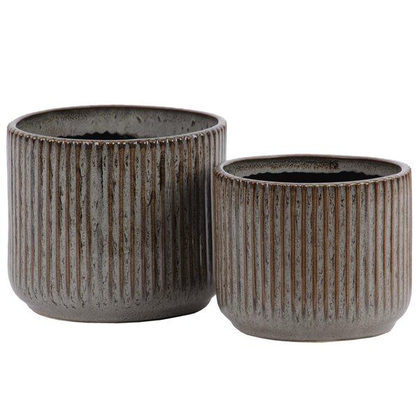 Nishi Ribbed Patterned 2-Piece Ceramic Pot Planter Set by World Menagerie
