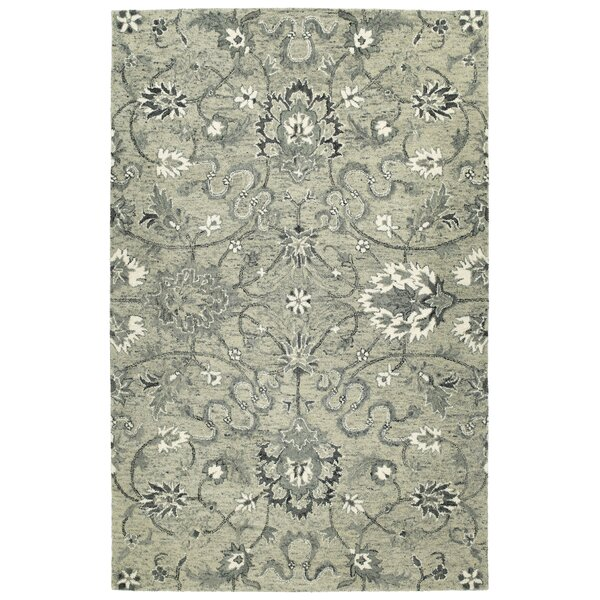 Toshiro Traditional Hand Tufted Wool Gray Area Rug by Bungalow Rose