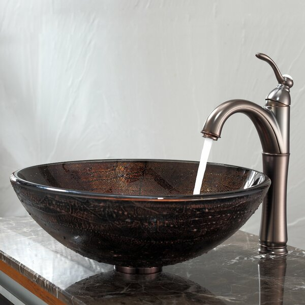 Copper Oil rubbed bronze Glass Circular Vessel Bathroom Sink with Faucet