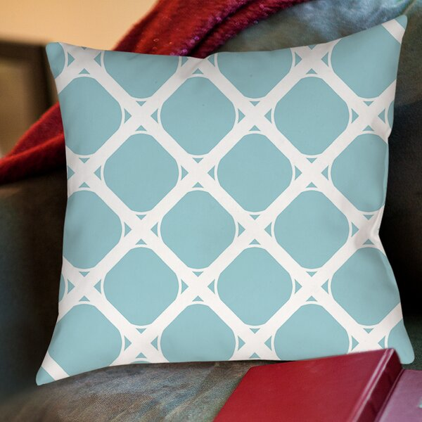 Modern Geometric Robin Egg Printed Throw Pillow by Manual Woodworkers & Weavers