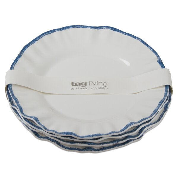 Ruffle Rim 4 Piece Melamine Dinner Plate Set by TAG
