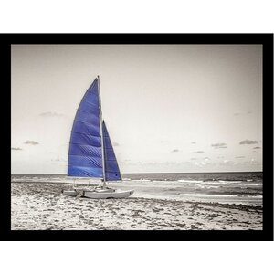 'Blue Catamaran and Sail Sailboat Poster' by Flo Minton Framed Photographic Print by Buy Art For Less