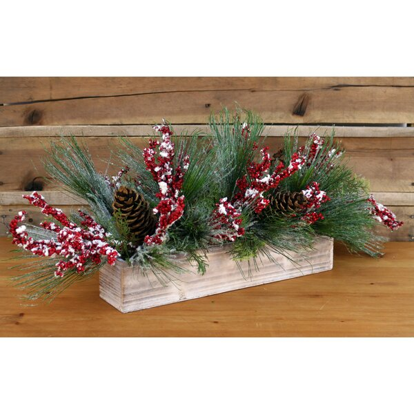 Snow Pine Candelabrum in Wooden Box by The Holiday Aisle