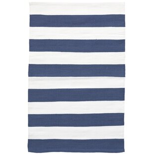 Read Reviews Catamaran Stripe Blue/White Indoor/Outdoor Area Rug By Dash and Albert Rugs