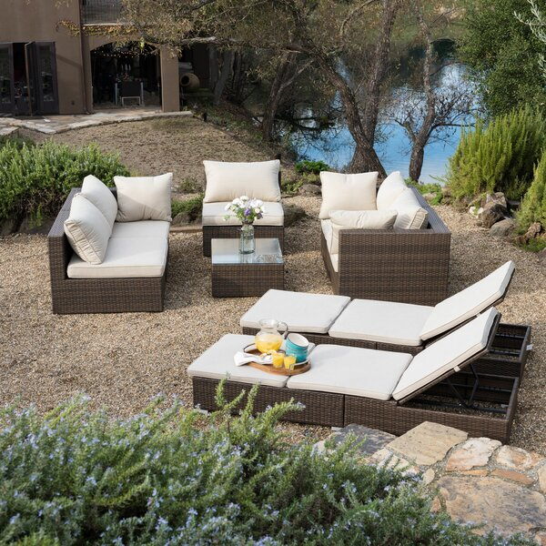 Malaptias 8 Piece Rattan Sectional Seating Group with Cushions by Latitude Run