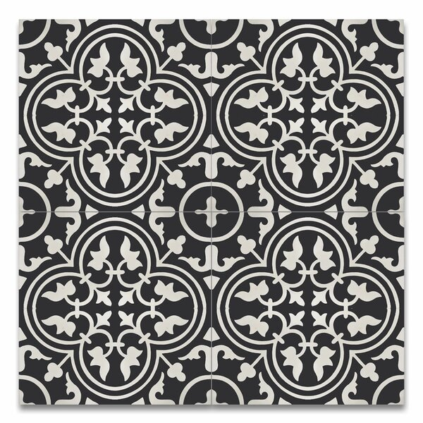 Casa 8 x 8 Handmade Cement Tile in Black and White by Moroccan Mosaic