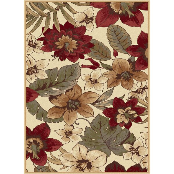 Lares Wine/Beige Bold Blossoms Rug by Astoria Grand