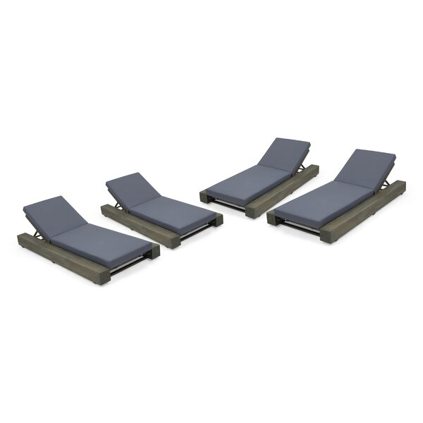 Lawrence Outdoor Reclining Chaise Lounge with Cushion (Set of 4) by Ivy Bronx