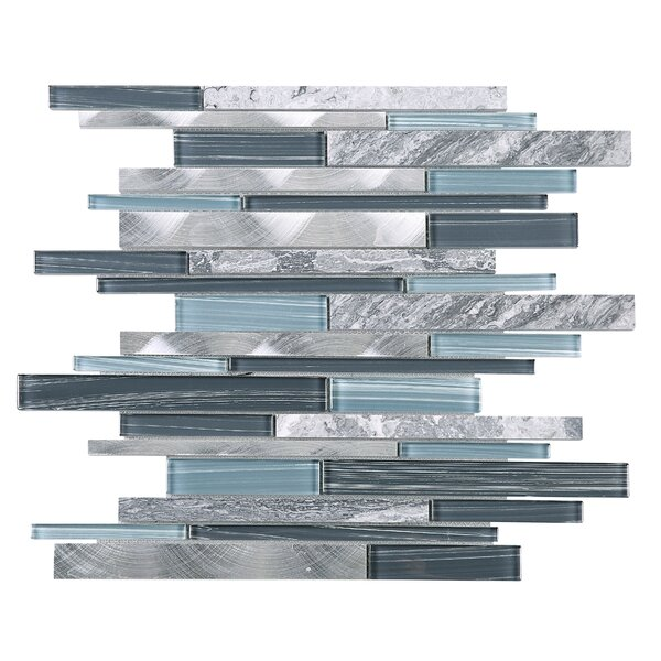 Slender Random Sized Mixed Material Tile in Blue/Gray by Multile