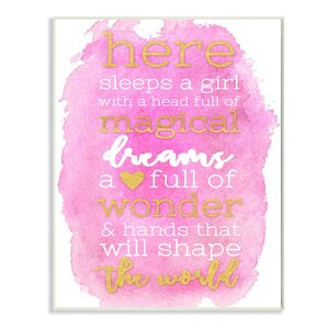 Here Sleeps A Girl Pink And Gold Typography Oversized Textual Art by Stupell Industries