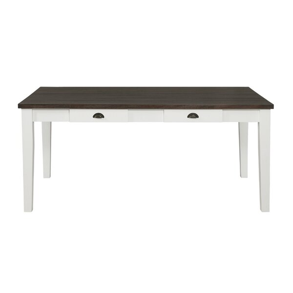 Tisa 4-Drawer Dining Table Espresso And Antique White by Red Barrel Studio Red Barrel Studio®