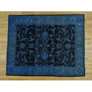 Compare One-of-a-Kind Beaumont Overdyed Hand-Knotted 6'9 x 8'6 Wool Blue/Black Area Rug By Isabelline