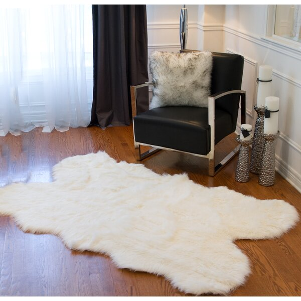 Shayne Faux Sheepskin Off White Area Rug by Union Rustic