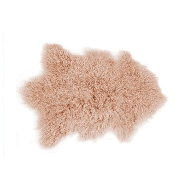 Rockwall Faux Sheepskin Dusty Rose Area Rug by Luxe