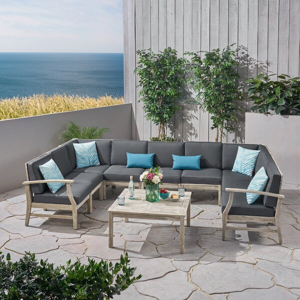 Gianni Outdoor 10 Piece Sectional Seating Group with Cushions by Foundry Select