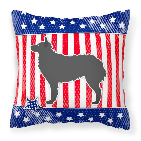 Patriotic USA Croatian Sheepdog Indoor/Outdoor Throw Pillow by The Holiday Aisle