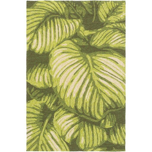 Passionflower Hand-Tufted Indoor/Outdoor Green Area Rug by Bay Isle Home