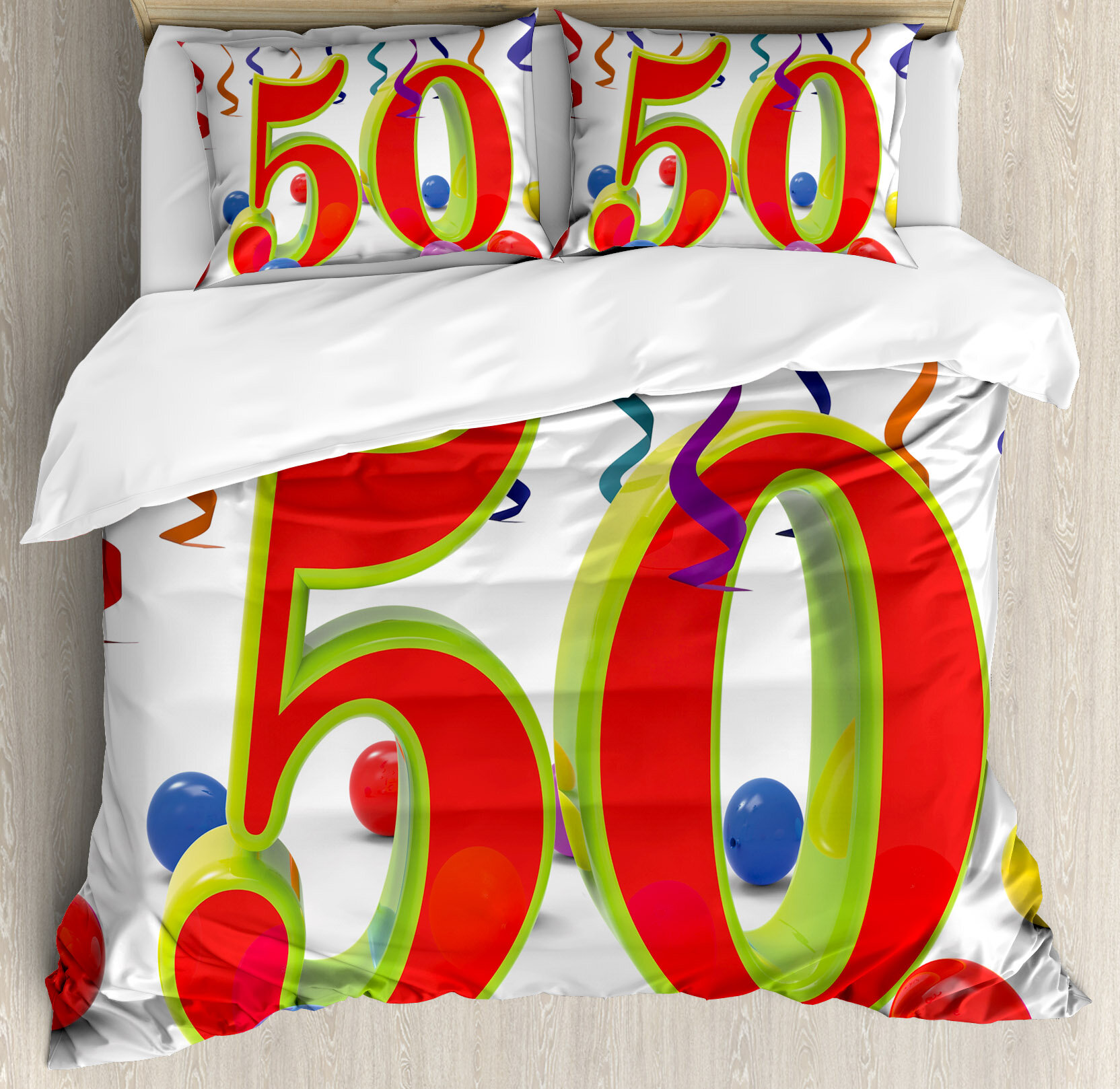 Ambesonne 50th Birthday Decorations Number Fifty Party Showing Happiness Celebration Objects Duvet Cover Set