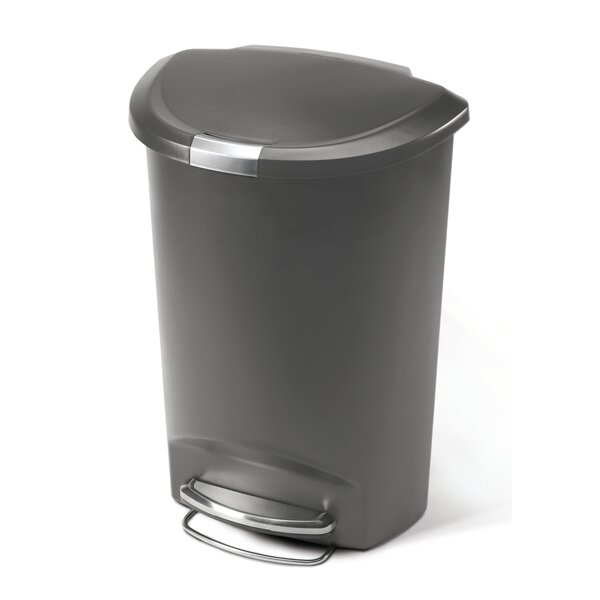 13 Gallon Semi-Round Step Trash Can, Plastic by simplehuman