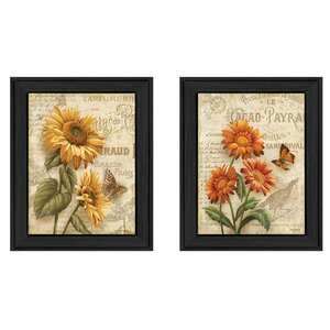 'Flowers' 2 Piece Framed Graphic Art Print Set by Trendy Decor 4U