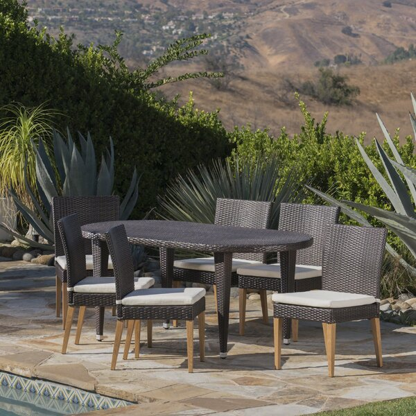 Sohn Outdoor 7 Piece Dining Set with Cushions by Corrigan Studio