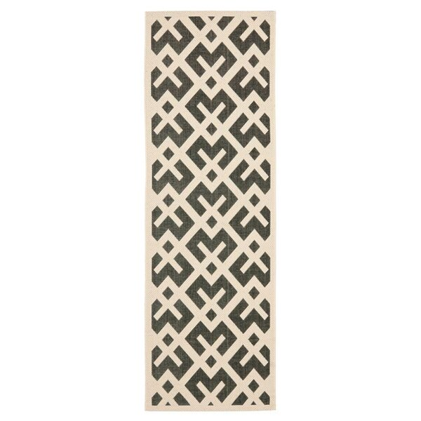 Jefferson Place Black & Beige Indoor/Outdoor Area Rug by Wrought Studio