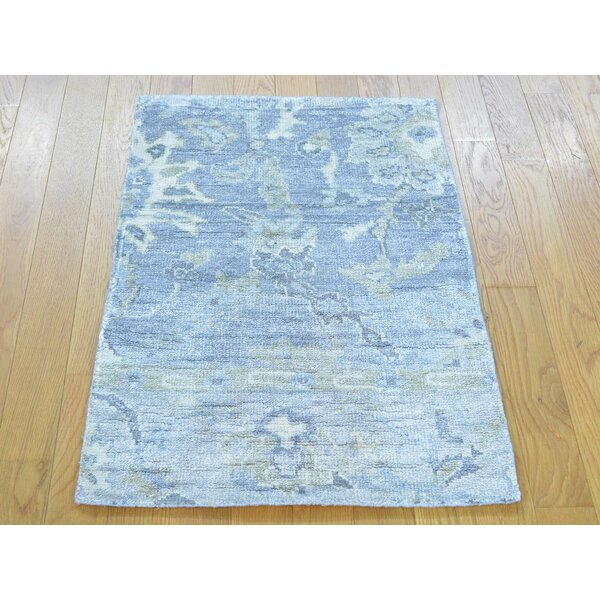One-of-a-Kind Bearer Art Washed Out Hand-Knotted Blue Silk Area Rug by Isabelline