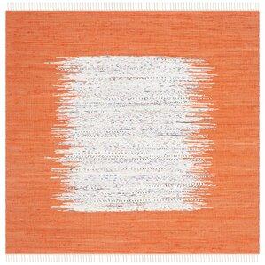 Ona Hand Woven Cotton White/Orange Area Rug