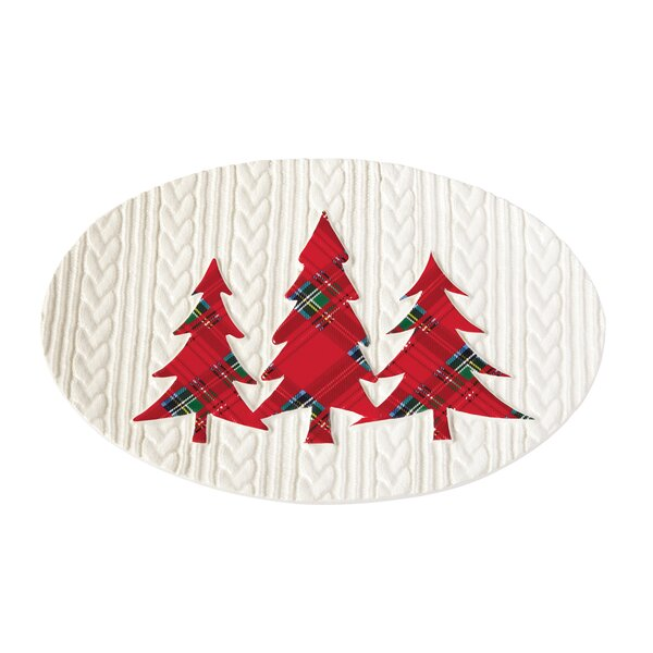 Tartan Tree Cable Knit Serving Platter by Mud Pie�