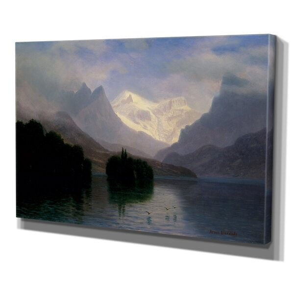 Mountain Scene by Albert Bierstad Print of Painting on Wrapped Canvas by Wexford Home