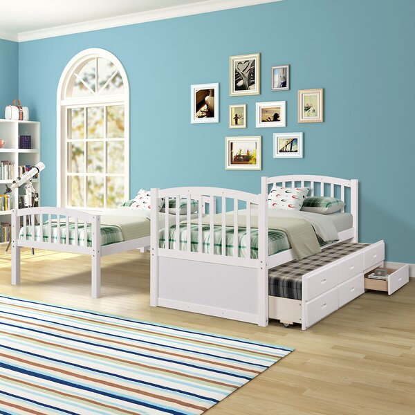 Lakey Twin Bunk Bed with Trundle by Harriet Bee