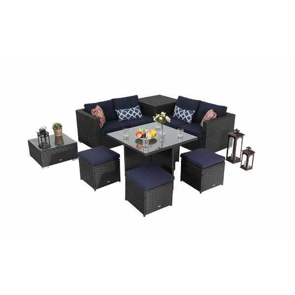 Northallert Outdoor Furniture 9 Piece Rattan Complete Patio Set with Cushions by Ivy Bronx