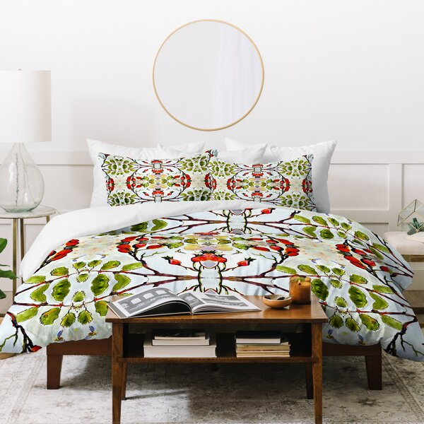 Ginette Fine Art Rose Hips and Bees Duvet Set by East Urban Home