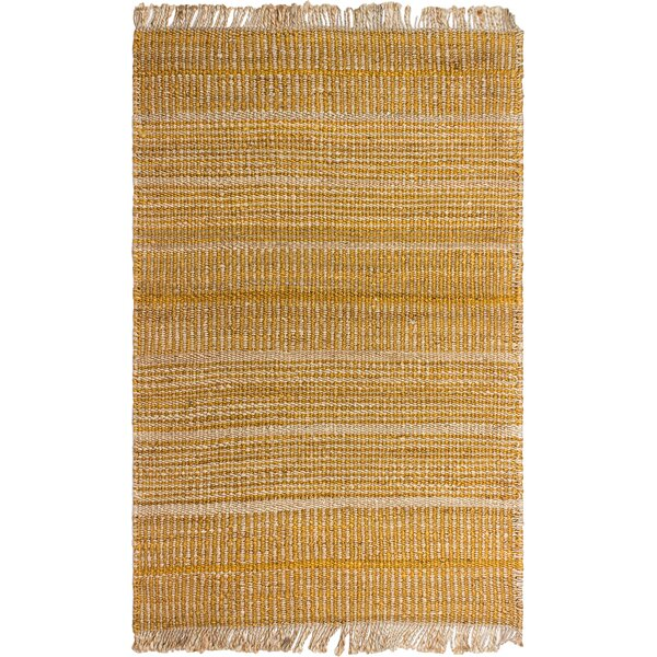 Delmer Hand-Woven Gold Area Rug by Highland Dunes