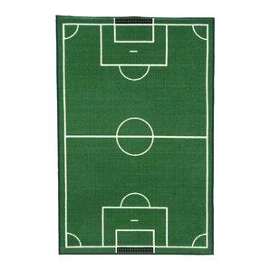 Fun Time Soccer Field Sports Area Rug