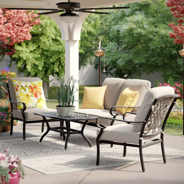 Benitez 4 Piece Sofa Seating Group with Cushions by Birch Lane™ Heritage